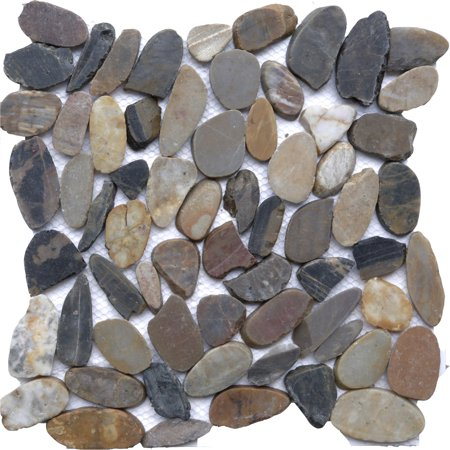 Autumn Mosaic 12 in. x 12 in. Sliced Natural Pebble Stone Floor and Wall Tile (10 sq. ft. / (Ivory Wall Flooring)