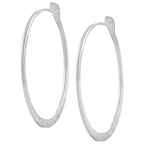 Tressa Collection Hammered Hoop Earrings