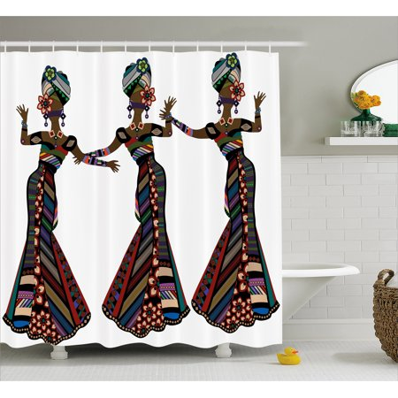 African Woman Shower Curtain, Young Women in Stylish Native Costumes Carnival Festival Theme Dance Moves, Fabric Bathroom Set with Hooks, 69W X 70L Inches, Multicolor, by Ambesonne