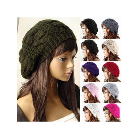 US Fashion Women Winter Warm Beret Cap Braided Baggy Knit Crochet Beanie Hat (Us Army Beret Colors)