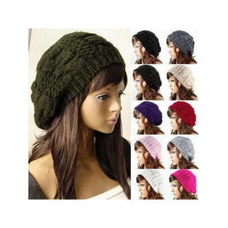 US Fashion Women Winter Warm Beret Cap Braided Baggy Knit Crochet Beanie Hat Ski
