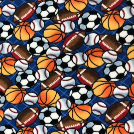Ball Material (Sports Balls Allover Fleece Fabric - Style# PT1110 - Free Shipping!)