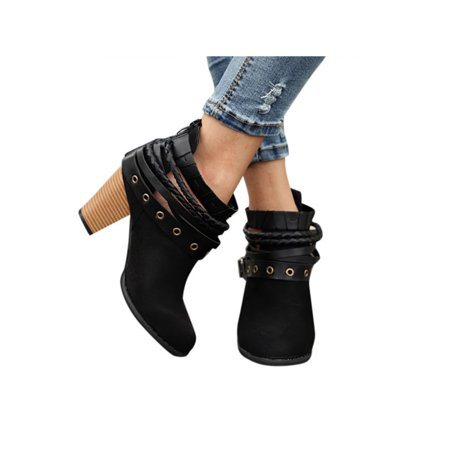 Women Ankle Martin Boots Block High Heel Metal Buckle Belt Round Toe Shoes - Colonial Shoe Buckles