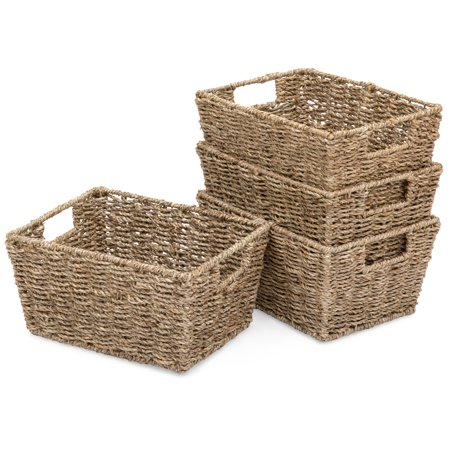 Best Choice Products Set of 4 Multipurpose Stackable Seagrass Storage Laundry Organizer Tote Baskets for Bedroom, Living Room, Bathroom w/ Insert Handles - Glass Handled Basket