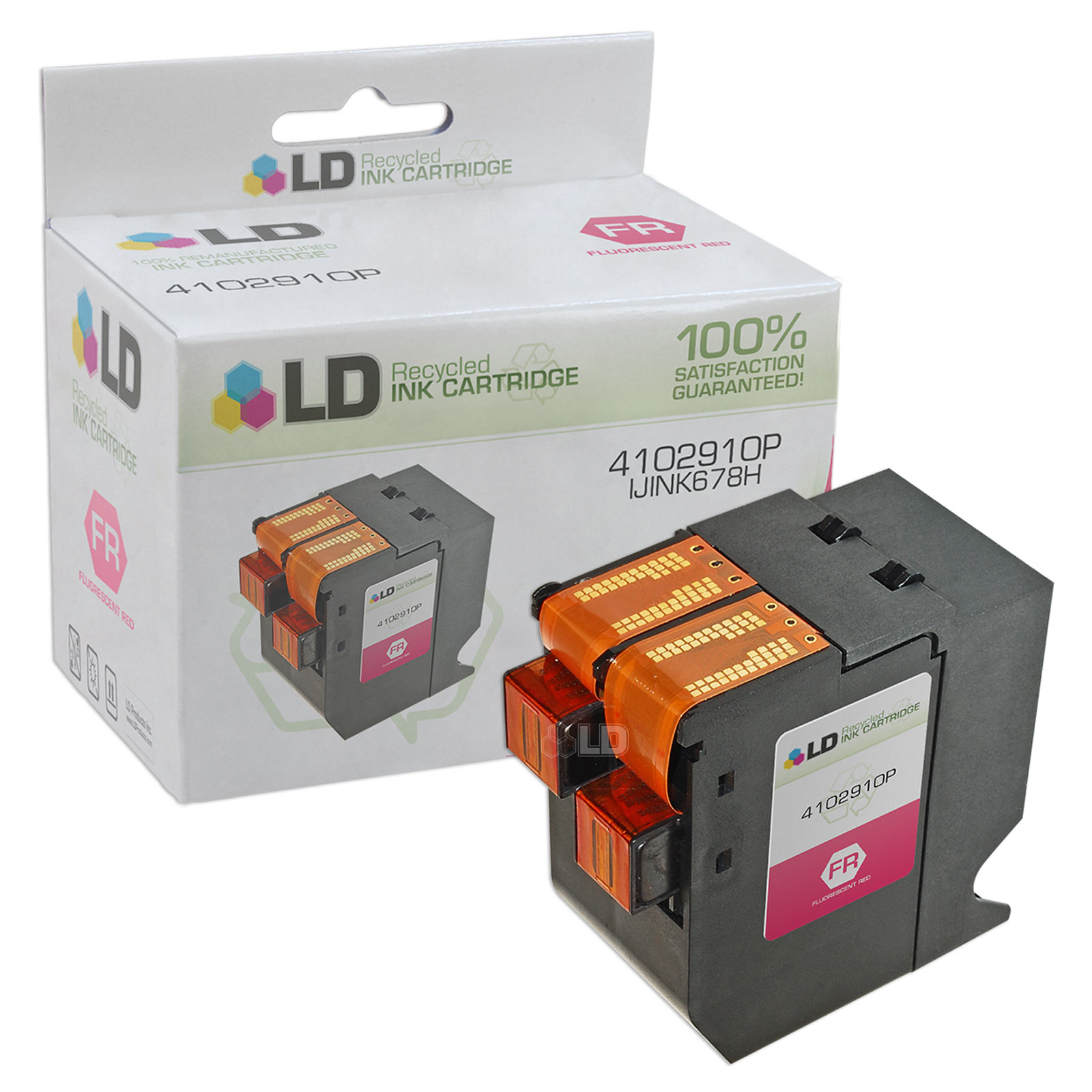 LD Remanufactured Replacement for NeoPost IJINK678H / 4102910P Fluorescent Red Inkjet Cartridge for use in NeoPost IJ65,