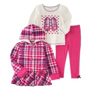 Kids Headquarters Infant Girl 3 PC Shirt Plaid Hoodie Jacket Leggings Outfit