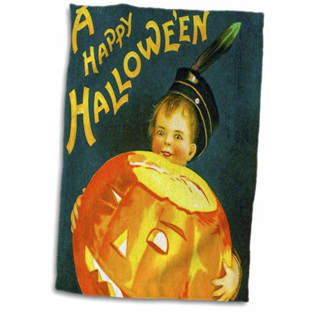 3dRose A Happy Halloween Vintage Holiday Postcard Early 1900s - Towel, 15 by 22-inch (Rare Halloween Postcards)