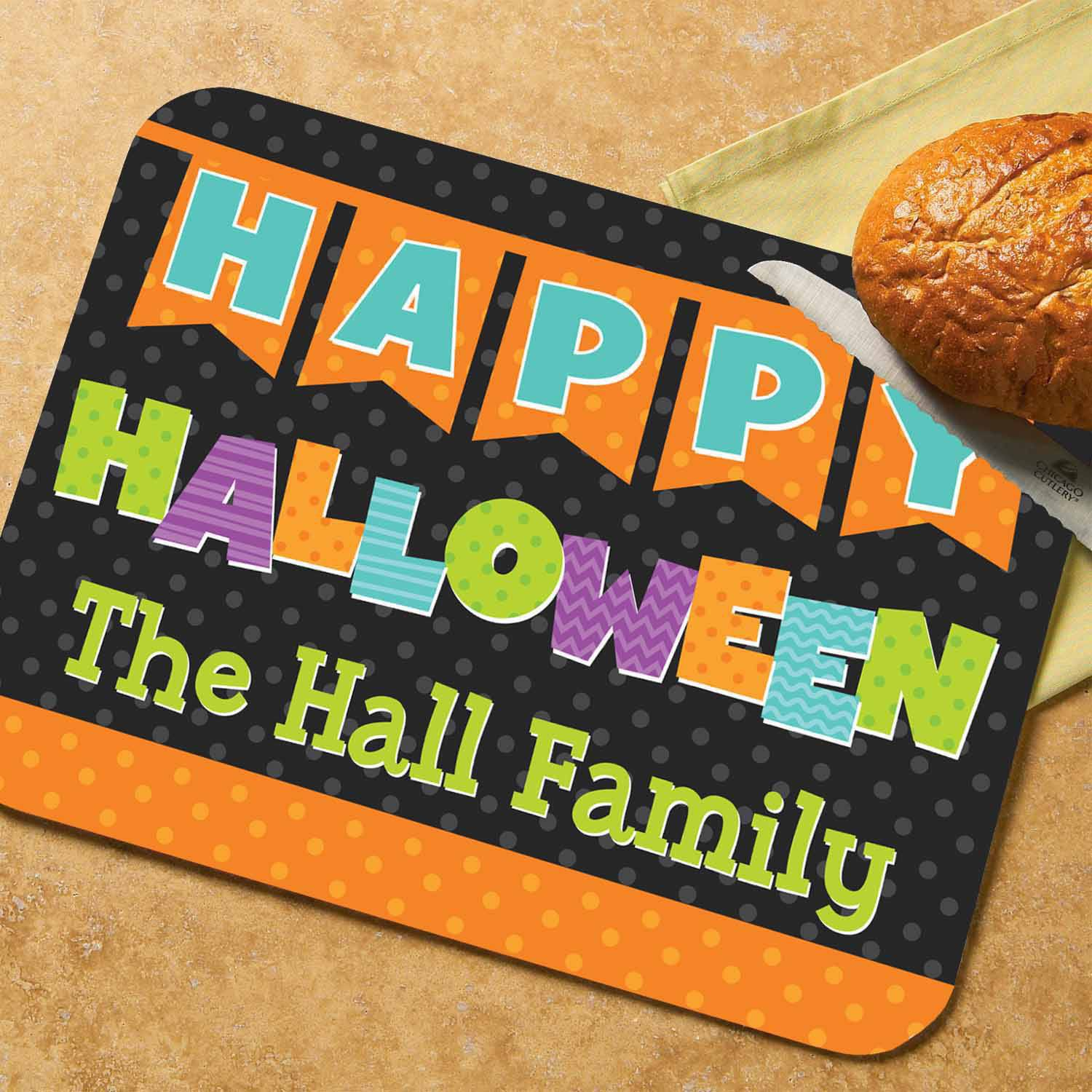 Personalized Happy Halloween Glass Cutting Board