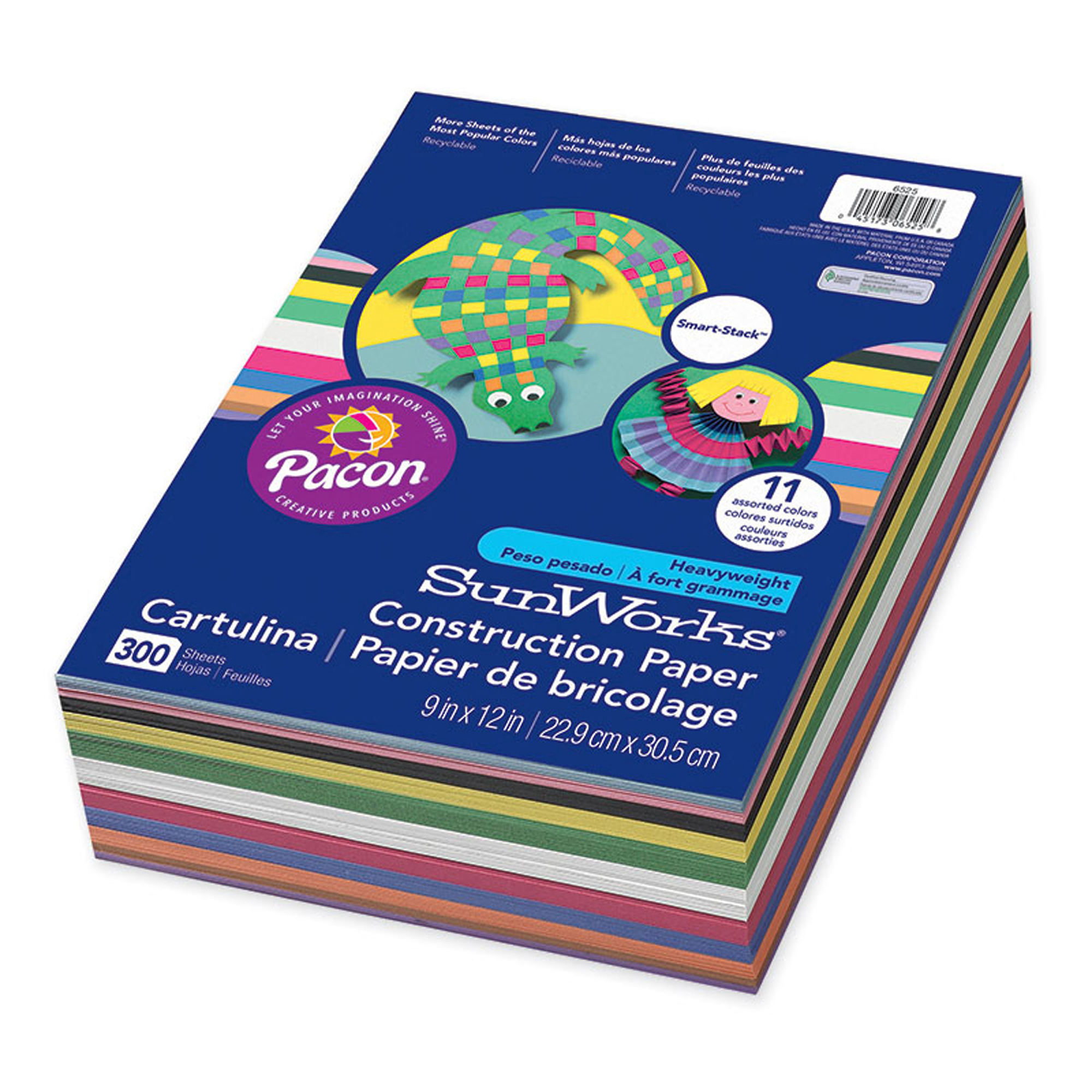 "SunWorks® Construction Paper Smart-Stack™, 9""x 12"", Assorted Colors, 300 Sheets"