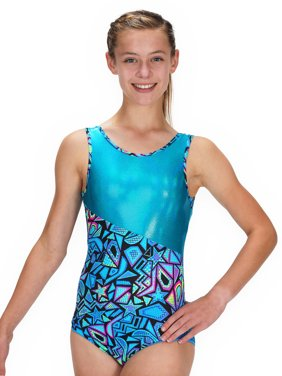 Gymnastics Leotard for Girls - Switch/Turquoise Comic Stars - Leap Gear - 4 | Child Small