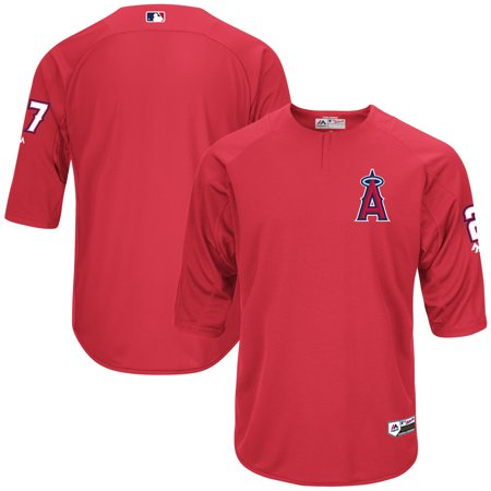 Mike Trout Los Angeles Angels Majestic Authentic Collection On-Field 3/4-Sleeve Player Batting Practice Jersey - Red