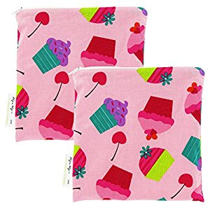 Itzy Ritzy Snack Happens Reusable Snack & Everything Bag, 2 Pack, Pink Owls