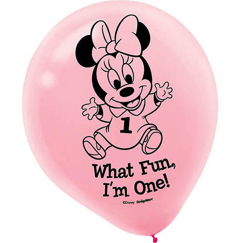 Minnie's 1st Birthday Balloons, Pink, 15-Pack