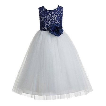 Ivory Lace Dress For Girls (EkidsBridal Navy Blue Floral Lace Heart Cutout Flower Girl Dresses Wedding Tulle Dress Girl Lace Dresses)