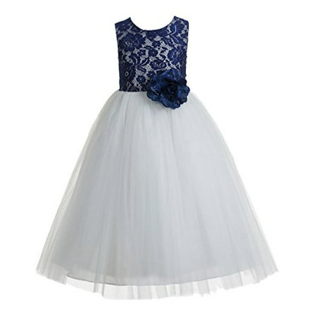 EkidsBridal Navy Blue Floral Lace Heart Cutout Flower Girl Dresses Wedding Tulle Dress Girl Lace Dresses 172F (Flower Girl Dresses Tulle)