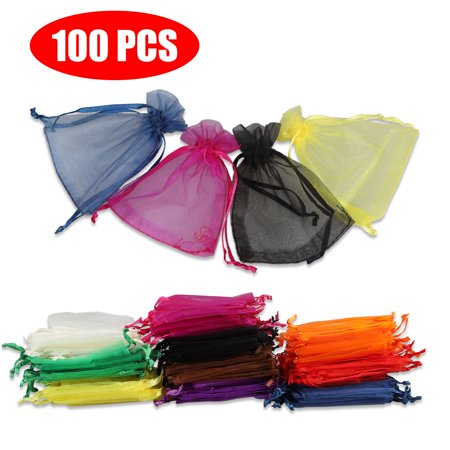 Easy Wedding Decorations (100 Pieces Assorted Color Organza Drawstring Pouches Candy Jewelry Party Wedding Favor Present Bags 3x4 Inches, Easy to open and)