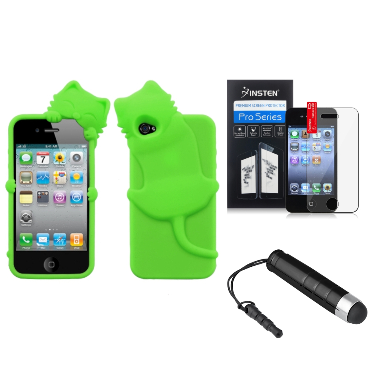 Insten Electric Green Cat Peeking Pets Case Cover Film Mini Pen For APPLE iPhone 4S/4