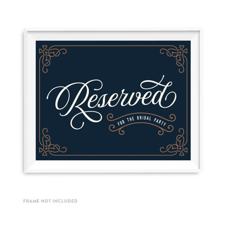 Vintage Bridal (Navy Blue Art Deco Vintage Party Signs, Reserved for the Bridal Party,)