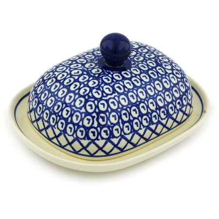 Polish Pottery 7½-inch Butter Dish (Lattice Peacock Theme) Hand Painted in Boleslawiec, Poland + Certificate of Authenticity