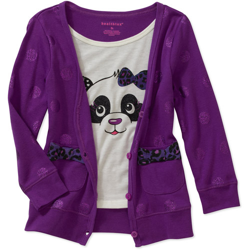 Healthtex Baby Girls' 2fer Cardigan and Graphic Tee