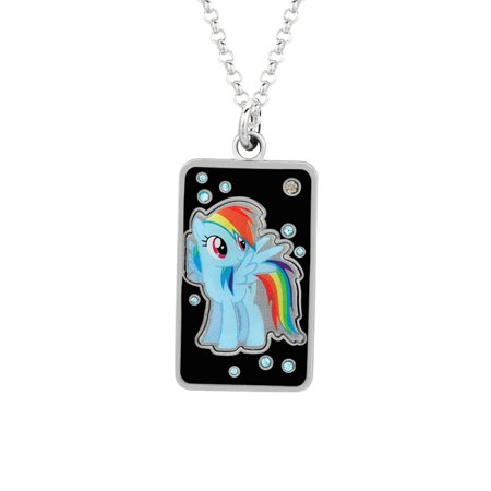 My Little Pony Fine Silver Plated Crystal Rainbow Dash Dog Tag Pendant Necklace