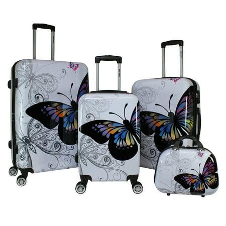 Butterfly 4 Piece Hardside TSA Combination Lock Spinner Luggage Set - Butterfly