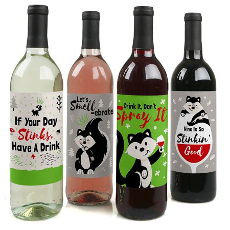 - Little Stinker - Woodland Skunk Baby Shower or Birthday Party Decorations for Women and Men - Wine Bottle Label Stickers
