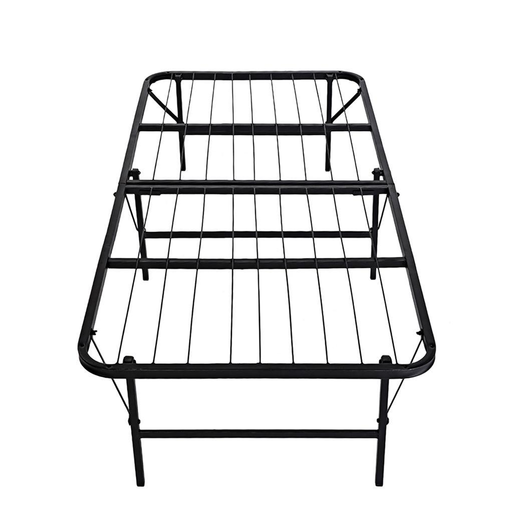 Twin Size  Folding Platform Metal  Bed Frame Base Mattress Foundation Black cbst