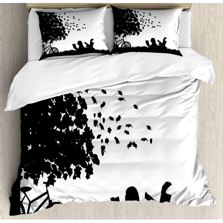 Black And White Duvet Cover Set Silhouette Of A With Bike Reading Book Under Tree In Fall Decorative Bedding Pillow Shams