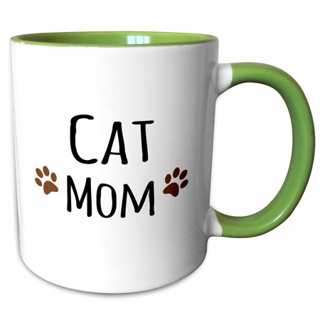 3dRose Cat Mom text in black with two paw prints - for female pet owners and kitty lovers - Two Tone Green Mug, 11-ounce