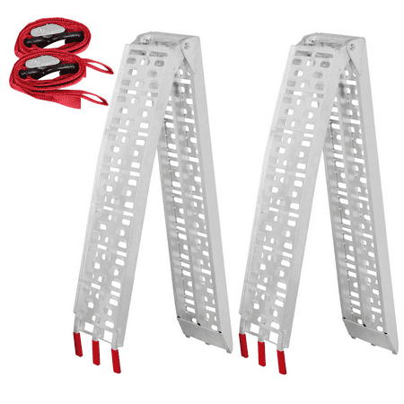 2pcs 7.5' Folding Aluminum ATV Loading Ramp Heavy Duty Lawnmower Motorcycle (Aluminum Tri Fold Atv Ramps)
