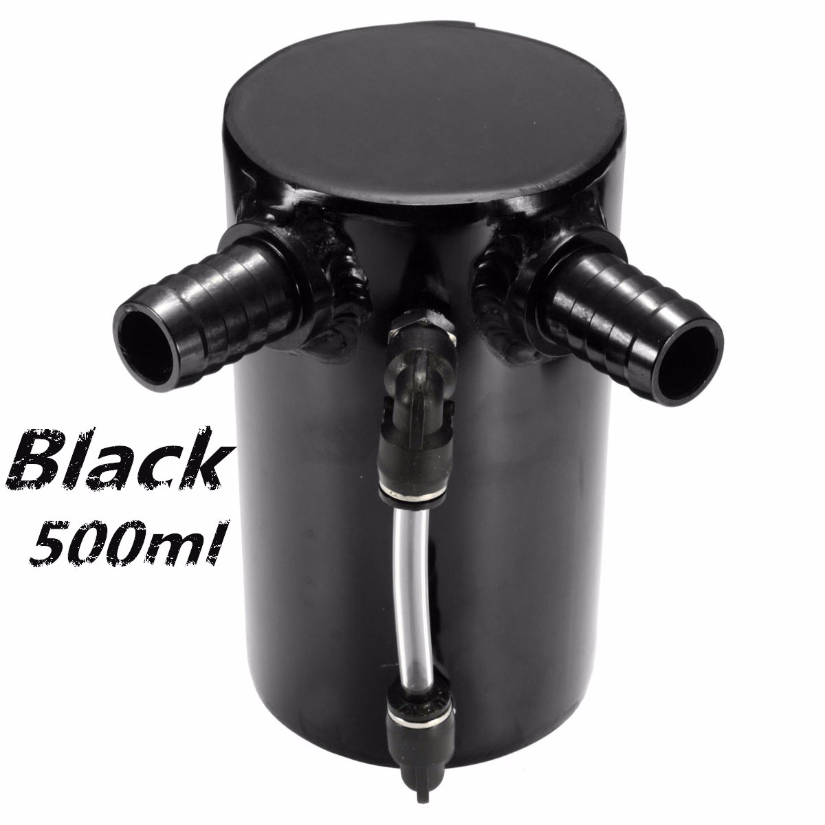 0.5L Car Engine Modified Oil Catch Tank Breather Reservoir Can Aluminum Alloy Black