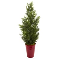 27 Mini Cedar Artificial Pine Tree in Decorative Planter (Indoor/Outdoor)