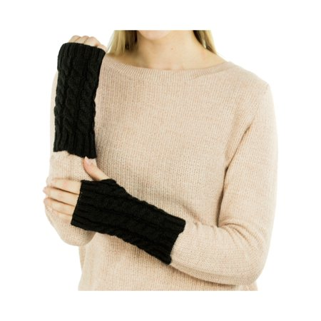 Exotic Identity Fingerless Gloves Cable Knit Tahoe Cold Weather Wear for Women - M - - Long Black Lace Gloves Fingerless