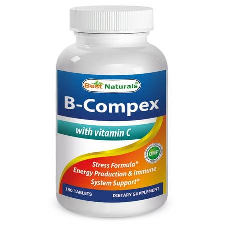 Best Naturals B-Complex with Vitamin C Tablet, B Complex Stress Formula, B Complex Energy Production Formula, 180 (Best Stress Bs)