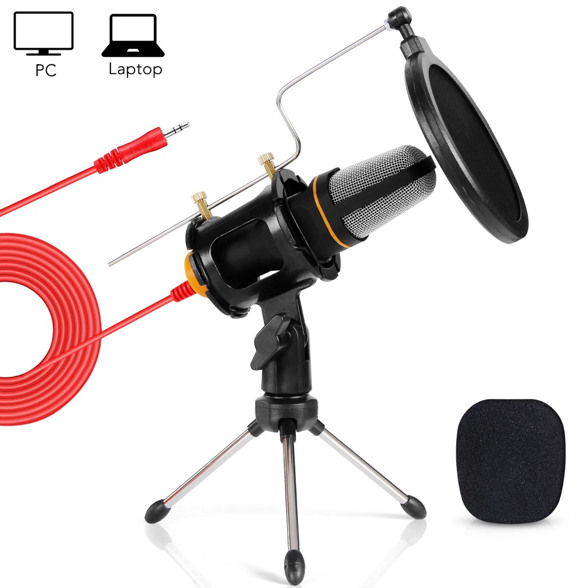 TONOR Pro 3.5mm Condenser Microphone Mic With Tripod Stand Shock Mount For Singing Computer Studio Audio Sound Recording
