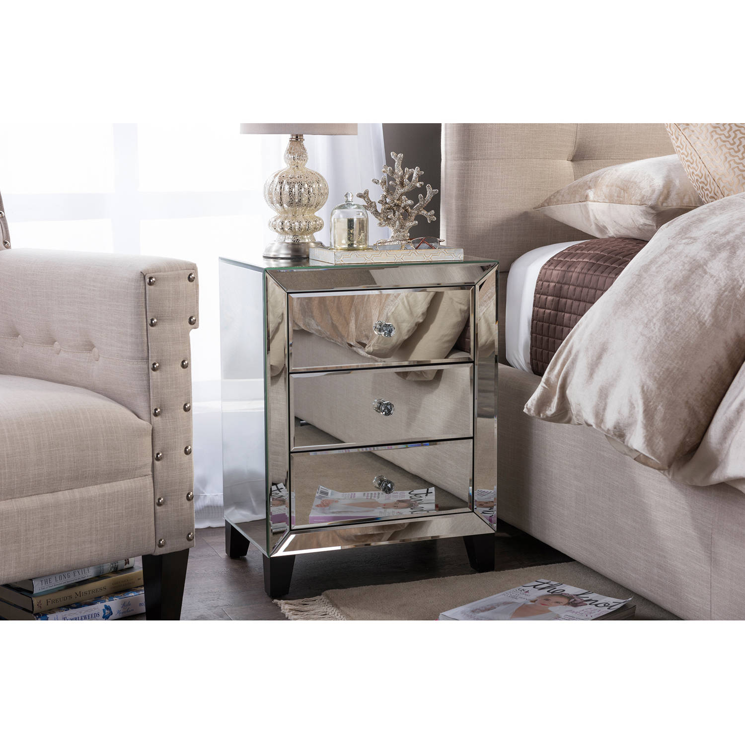 Baxton Studio Chevron Modern and Contemporary Hollywood Regency Glamour Style Mirrored 3-Drawers Nightstand Bedside... by Wholesale Interiors