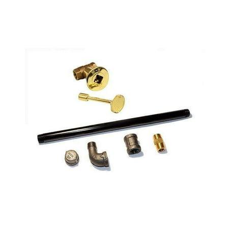 - HPC Straight Black Steel Gas Log Lighter Brass Valve Kit, 12