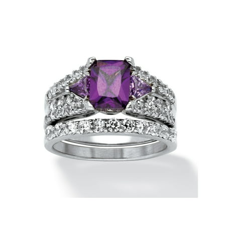 65ddfd818f3 Palm Beach Jewelry - 3.91 TCW Emerald-Cut Purple Cubic Zirconia Two-Piece Bridal  Set in Sterling Silver - Walmart.com