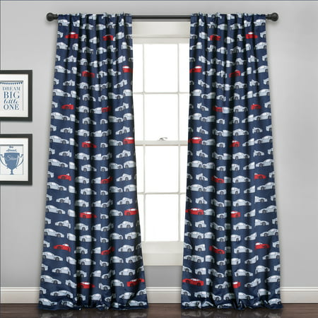 Lush Decor Race Cars Room Darkening 84u0022 x 52u0022 Print Navy 100% Polyester 3u0022 Back Tab Rod Pocket 2-Pc Set Window Panel