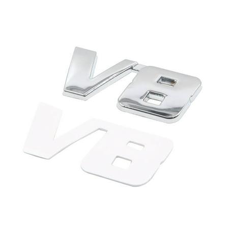 Silver Tone Metal V8 Pattern Adhesive Badge Emblem Sticker Decoration for Car