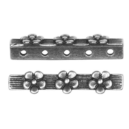 Antiqued Silver Plated 5 Strand Spacer Floral Bar 25mm (2) 5 Strand Spacer Bar