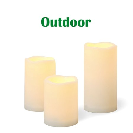 "Candle Choice 3 PCS Outdoor Flameless Candles with Timer, Realistic Flickering LED Pillar Candles, Weatherproof Battery Operated Candles, Long Battery Life 1500+ Hours, Melted Edge 3""x4"", 5"", 6"" ()"