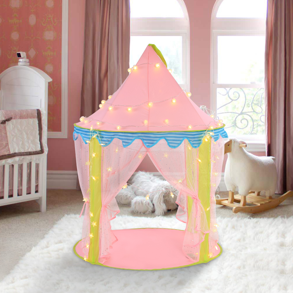 Kids Play Tent, Foldable Princess Castle Pink Play House for Girls Indoor