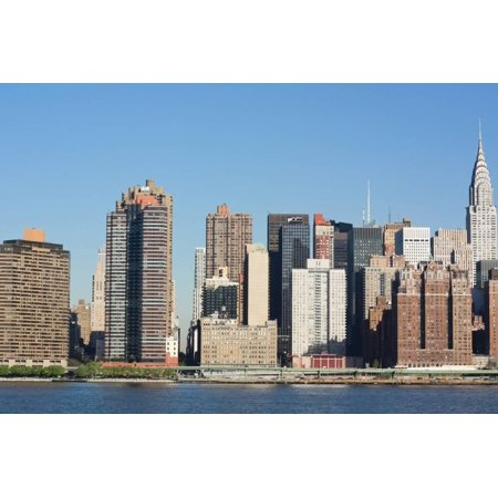 New York Skyline Photo (New York City Skyline with Empire State and Chrysler Buildings Photo Poster Poster Wall Art)