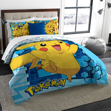 Pokemon Pika Twin Full Bedding Comforter Set Comes With And 2 Shams