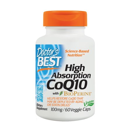 Doctor's Best High Absorption CoQ10 with BioPerine, Vegan, Gluten Free, Naturally Fermented, Heart Health and Energy Production, 100 mg 60 Veggie