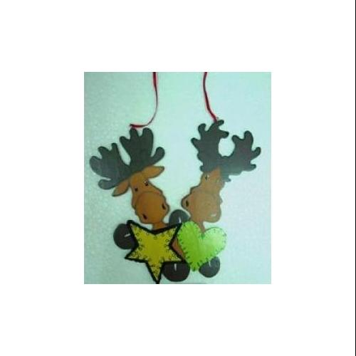 Club Pack of 24 Wooden Moose Heart and Star Christmas Ornaments 6""