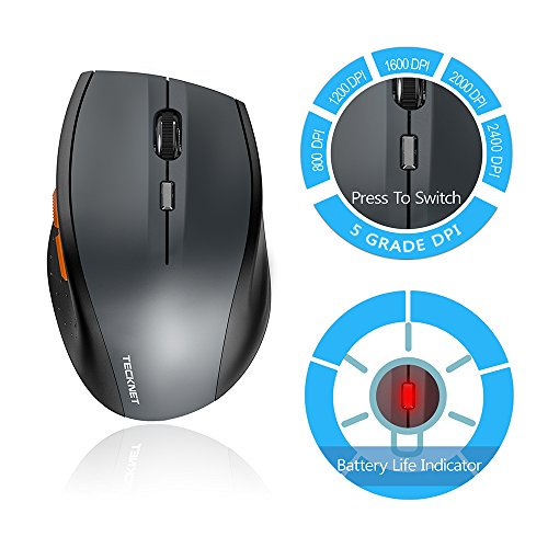 5b6fae8e36f TeckNet Classic 2.4G Portable Optical Wireless Mouse with USB Nano Receiver  for Notebook,PC,Laptop,Computer,6 Buttons,18 Months Battery Life,2400 DPI,5  ...