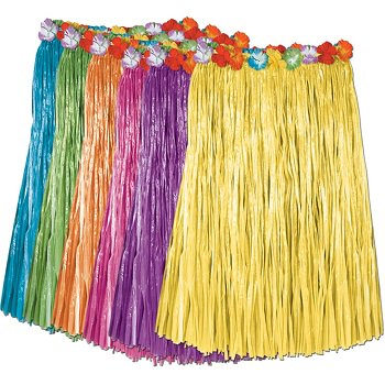 Ddi Child Artificial Grass Hula Skirt W/floral Waistba - Kids Hula Skirt